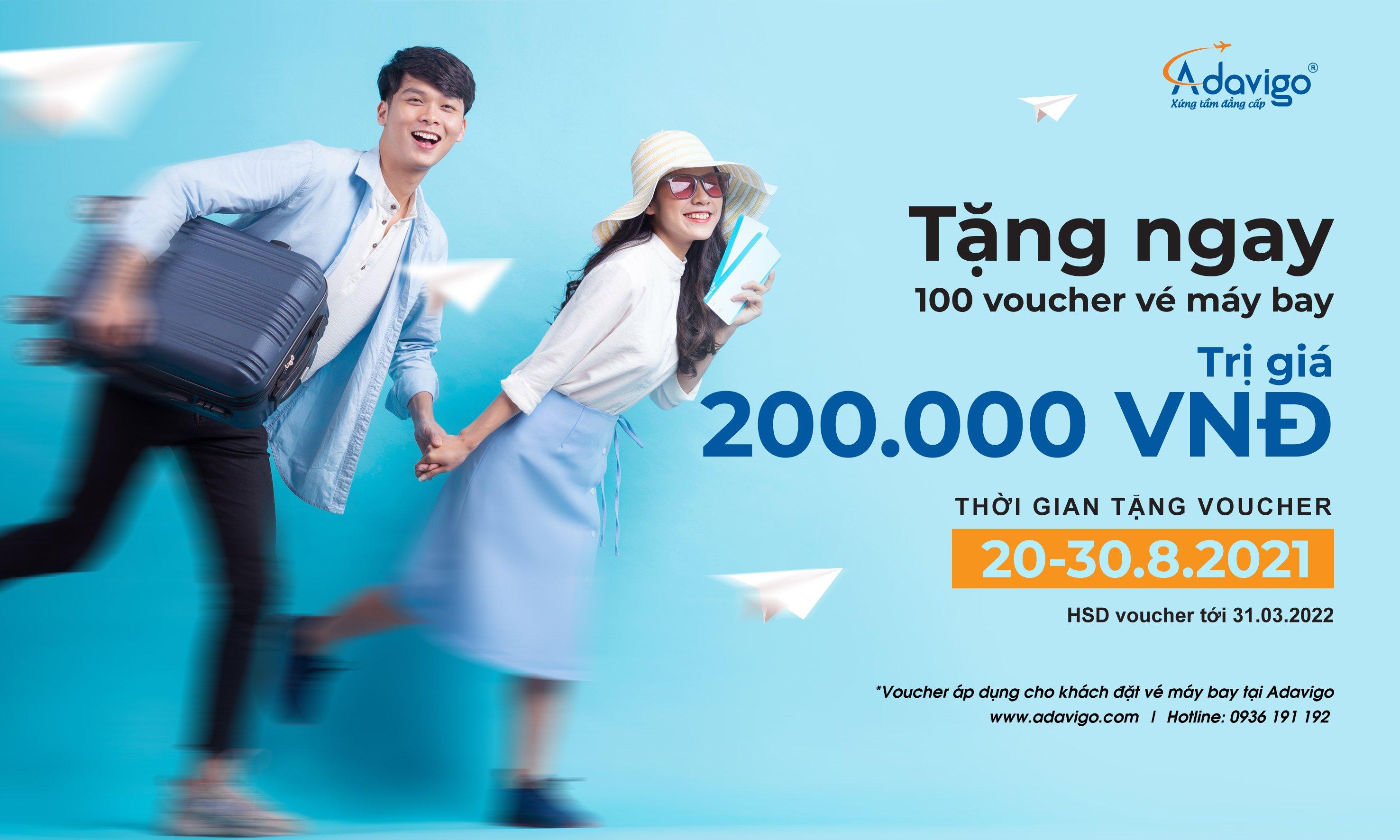 Tặng ngay voucher vé máy bay trị giá 200.000VNĐ cho 100 khách hàng nhanh tay đầu tiên